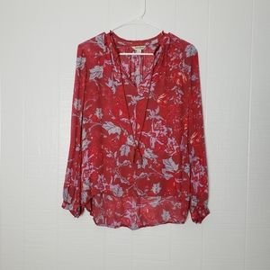 Lucky Brand Floral Blouse   Frayed   Tassels